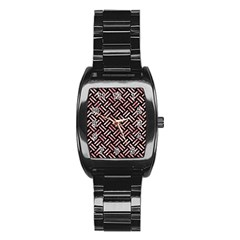 Woven2 Black Marble & Red & White Marble Stainless Steel Barrel Watch