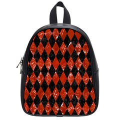 Diamond1 Black Marble & Red Marble School Bag (small)