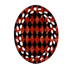 Diamond1 Black Marble & Red Marble Oval Filigree Ornament (two Sides)
