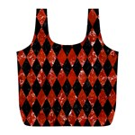 DIAMOND1 BLACK MARBLE & RED MARBLE Full Print Recycle Bag (L) Front