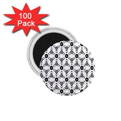 Black White Flower 1 75  Magnets (100 Pack)