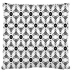 Black White Flower Large Flano Cushion Case (one Side)