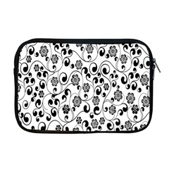 Black White Floral Apple Macbook Pro 17  Zipper Case
