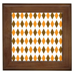 Brown Orange Retro Diamond Copy Framed Tiles