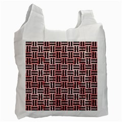 Woven1 Black Marble & Red & White Marble (r) Recycle Bag (one Side)