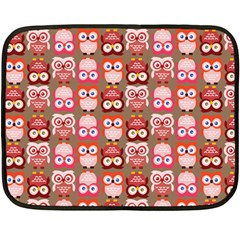 Eye Owl Colorfull Pink Orange Brown Copy Double Sided Fleece Blanket (mini)