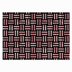 Woven1 Black Marble & Red & White Marble Large Glasses Cloth