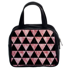 Triangle3 Black Marble & Red & White Marble Classic Handbag (two Sides)
