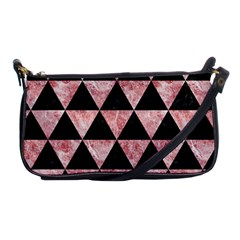 Triangle3 Black Marble & Red & White Marble Shoulder Clutch Bag