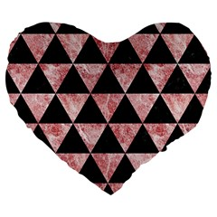 Triangle3 Black Marble & Red & White Marble Large 19  Premium Flano Heart Shape Cushion