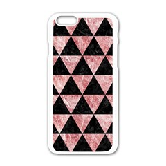 Triangle3 Black Marble & Red & White Marble Apple Iphone 6/6s White Enamel Case