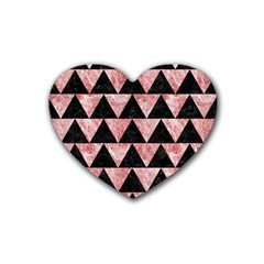 Triangle2 Black Marble & Red & White Marble Rubber Heart Coaster (4 Pack)