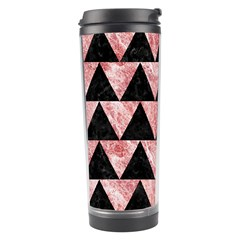 Triangle2 Black Marble & Red & White Marble Travel Tumbler