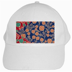Floral Red Blue Flower White Cap