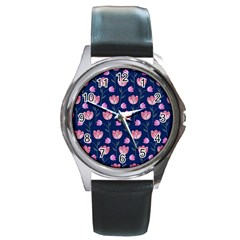 Flower Tulip Floral Pink Blue Round Metal Watch