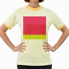 Pink Yellow Women s Fitted Ringer T Shirts