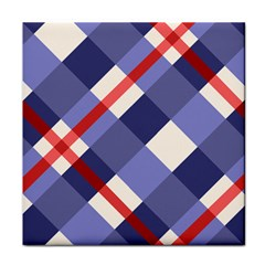 Red And Purple Plaid Tile Coasters