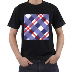 Red And Purple Plaid Men s T Shirt (black) (two Sided)