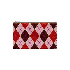 Texture Background Argyle Brown Cosmetic Bag (small)