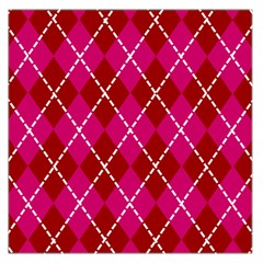Texture Background Argyle Pink Red Large Satin Scarf (square)