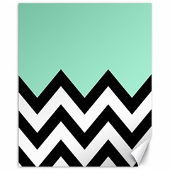 Mint Green Chevron Canvas 11  X 14
