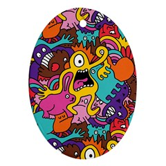 Monsters Pattern Ornament (oval)
