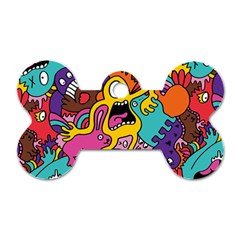 Monsters Pattern Dog Tag Bone (one Side)