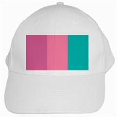 Pink Blue Three Color White Cap