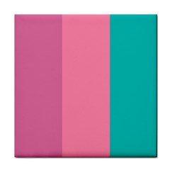 Pink Blue Three Color Tile Coasters