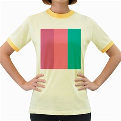 Pink Blue Three Color Women s Fitted Ringer T Shirts
