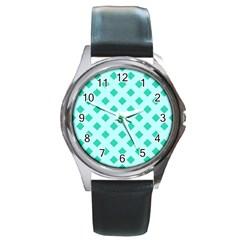 Plaid Blue Box Round Metal Watch