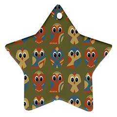 Owl Pattern Illustrator Star Ornament (two Sides)
