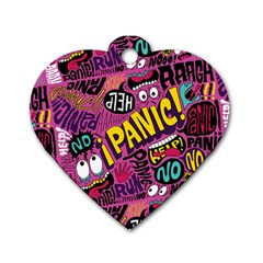 Panic Pattern Dog Tag Heart (one Side)