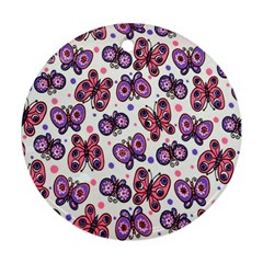 Pink Purple Butterfly Ornament (round)