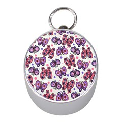 Pink Purple Butterfly Mini Silver Compasses