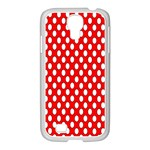 Red Circular Pattern Samsung GALAXY S4 I9500/ I9505 Case (White) Front