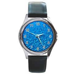 Shattered Blue Glass Round Metal Watch
