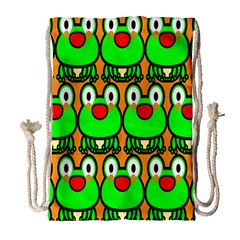 Sitfrog Orange Face Green Frog Copy Drawstring Bag (large)