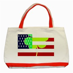 Usa Ireland American Flag Shamrock Irish Funny St Patrick Country Flag  Classic Tote Bag (red)