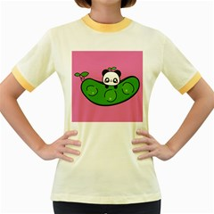 Edamame Panda Pink Cute Animals Women s Fitted Ringer T Shirts