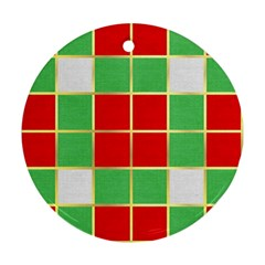 Christmas Fabric Textile Red Green Ornament (round)