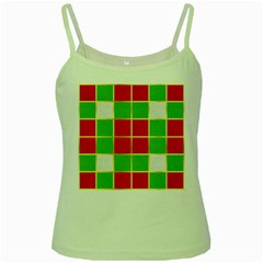 Christmas Fabric Textile Red Green Green Spaghetti Tank