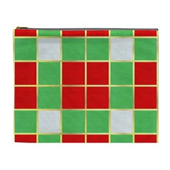 Christmas Fabric Textile Red Green Cosmetic Bag (xl)
