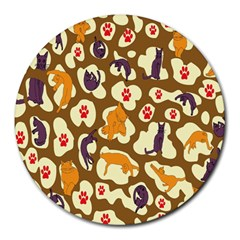 Face Cat Cute Purple Yellow Round Mousepads