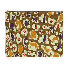 Face Cat Cute Purple Yellow Cosmetic Bag (xl)
