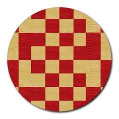 Fabric Geometric Red Gold Block Round Mousepads