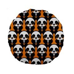 Halloween Night Cute Panda Orange Standard 15  Premium Round Cushions