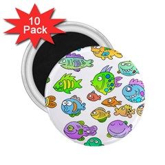 Fishes Col Fishing Fish 2.25  Magnets (10 pack)