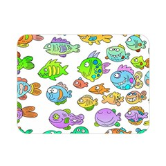 Fishes Col Fishing Fish Double Sided Flano Blanket (Mini)