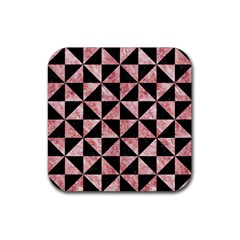 Triangle1 Black Marble & Red & White Marble Rubber Square Coaster (4 Pack)